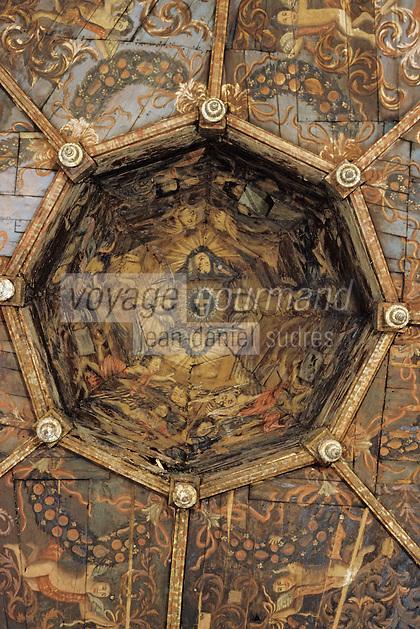 Europe/France/Auvergne/12/Aveyron/Villefranche-de-Rouergue: Détail plafond peint Plafond peint Chapelle des Pénitents noirs