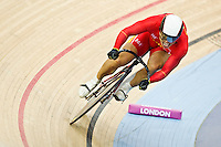 19 FEB 2012 - LONDON, GBR - China's Zhang Lei (CHN) attempts to qualify for the Men's Sprint during the UCI Track Cycling World Cup, and London Prepares test event for the 2012 Olympic Games, in the Olympic Park Velodrome in Stratford, London, Great Britain .(PHOTO (C) 2012 NIGEL FARROW)