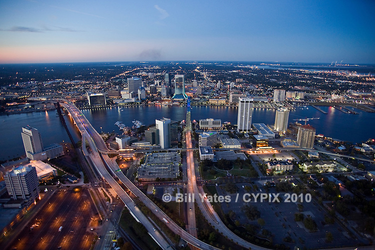 Jacksonville, Florida - Early evening north/northwest view of the Acosta Bridge, Main Street Bridge, Northbank, Southbank, St. Johns River - helicopter aerial