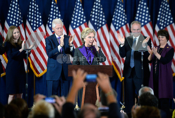 Democratic Presidential candidate Hillary Clinton delivers her concession speech Wednesday, from the New Yorker Hotel's Grand Ballroom in New York city , NY, on November 9, 2016. <br /> Credit: Olivier Douliery / Pool via CNP /MediaPunch