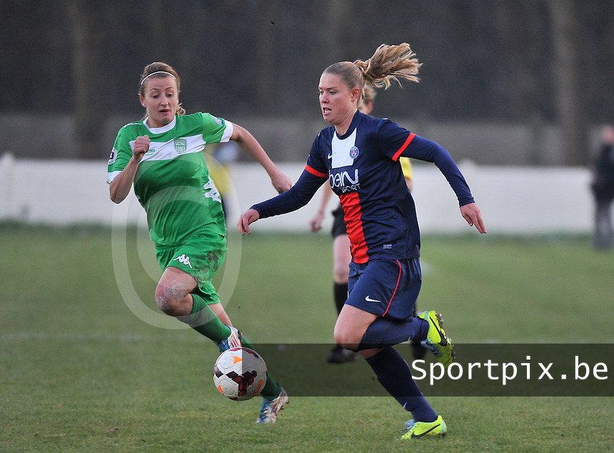 20131211 - HENIN-BEAUMONT , France :  PSG's Lea Declercq (right) pictured with Henin's  Marie Schepers (left) during the female soccer match between FC Henin Beaumont and Paris Saint-Germain Feminin , of the Ninth matchday in the French First Female Division . Wednesday 11 December 2013. PHOTO DAVID CATRY