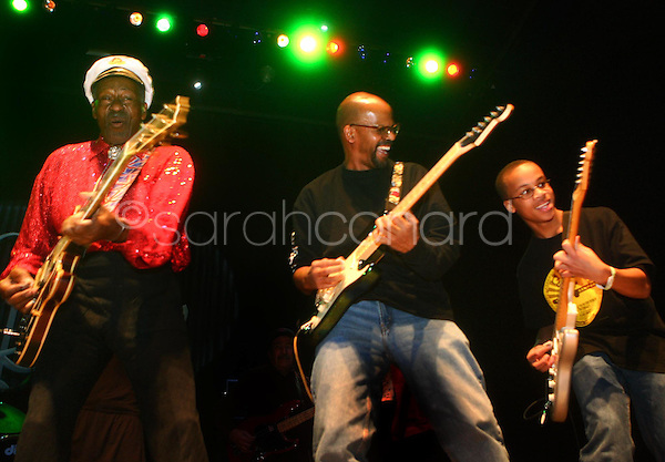 Saturday, December 13, 2008--St. Louis rock legend Chuck Berry performs with his son, Charles Edward Jr, and his grandson, Charles III, during a sold-out show at The Pageant..Sarah Conard | freelance