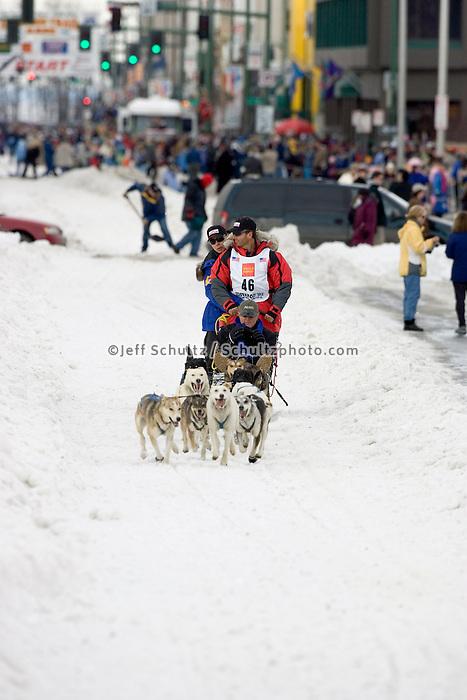 Doug Swingley on Trail 2005 Iditarod Ceremonial Start AK Anchorage Downtown