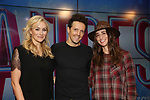 Betsy Wolfe, Jason Mraz and Sara Bareilles attend the Jason Mraz joins the cast of  'Waitress' Press Event on October 30, 2017 at You Tube Space in New York City.