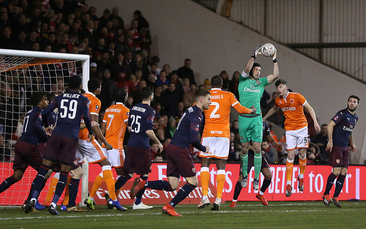 Arsenal's goalkeeper Petr Cech collects the ball as Blackpool's Donervon Daniels and Paudie O'Connor attack<br /> <br /> Photographer Stephen White/CameraSport<br /> <br /> Emirates FA Cup Third Round - Blackpool v Arsenal - Saturday 5th January 2019 - Bloomfield Road - Blackpool<br />  <br /> World Copyright © 2019 CameraSport. All rights reserved. 43 Linden Ave. Countesthorpe. Leicester. England. LE8 5PG - Tel: +44 (0) 116 277 4147 - admin@camerasport.com - www.camerasport.com