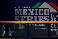 Bullpen.<br /> Acciones del partido de beisbol de los Dodgers de Los Angeles contra Padres de San Diego, durante el primer juego de la serie las Ligas Mayores del Beisbol en Monterrey, Mexico el 4 de Mayo 2018.<br /> (Photo: Luis Gutierrez)