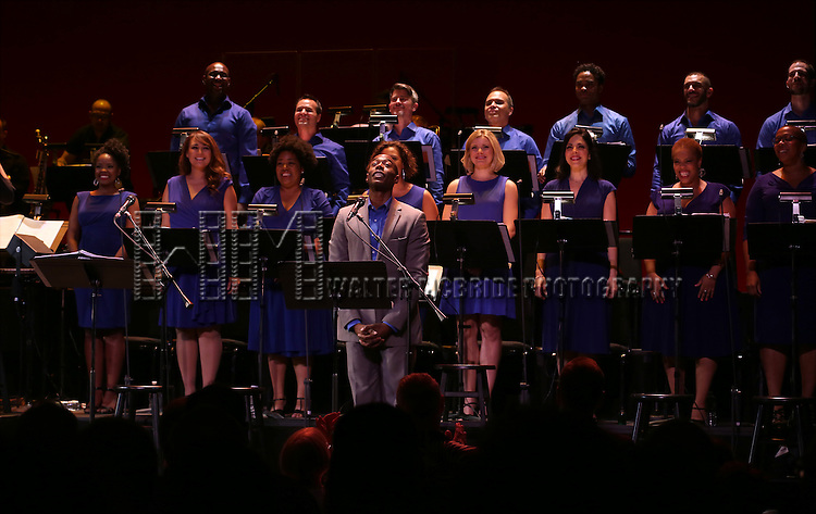 Michael McElroy and Ensemble cast during the Curtain Call for the New York City Center Encores! Off-Center production of 'Randy Newman's FAUST' - The Concert at City Center on July 1, 2014 in New York City.
