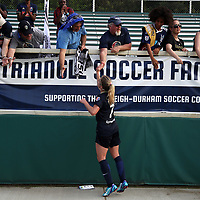 Cary, North Carolina  - Saturday April 29, 2017: McCall Zerboni and fans after a regular season National Women's Soccer League (NWSL) match between the North Carolina Courage and the Orlando Pride at Sahlen's Stadium at WakeMed Soccer Park.