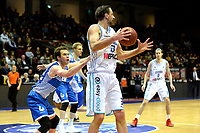 GRONINGEN - Basketbal, Donar - Landstede Zwolle, Martiniplaza, Dutch Basketbal league, seizoen 2018-2019, 02-02-2019, Donar speler Drago Pasalic met Landstede speler Ralf de Pagter