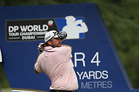 Shane Lowry (IRL) on the 16th tee during the 3rd round of the DP World Tour Championship, Jumeirah Golf Estates, Dubai, United Arab Emirates. 17/11/2018<br /> Picture: Golffile | Fran Caffrey<br /> <br /> <br /> All photo usage must carry mandatory copyright credit (© Golffile | Fran Caffrey)