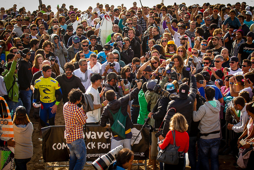 SUPERTUBOS, Peniche/Portugal (Friday, October 19, 2012) - Gabriel Medina (BRA) and Julian Wilson (AUS) waiting for the result of the final. Julian Wilson (AUS), 23, has claimed his maiden ASP World Championship Tour (WCT) victory today, besting a rampaging Gabriel Medina (BRA), 18, in the dying seconds of the Rip Curl Pro Portugal...Stop No. 8 of 10 on the 2012 ASP World Championship Tour, the Rip Curl Pro Portugal played host to pivotal moments in the hunt for the 2012 ASP World Title as well as today's dramatic culmination between two rising superstars...In a replay of the surfers' Final match-up from France last season, Medina and Wilson went blow-for-blow in today's Final in front of a capacity crowd at Supertubos. While Medina favored a more technical approach to the heat, executing a number of progressive maneuvers, it was Wilson's barrel sense and combination ability that ultimately tipped the heat in the final moments...?I'm overwhelmed,? Wilson said. ?I lost to Gabriel (Medina) on the buzzer last year in France and to beat him back again on the buzzer, I don't even know how to describe the feeling. He was trying to hold onto the lead in the end there, he pretty much did what I did in the Final last year in France. He was too busy worrying about me, and that wave came in the dying moments and that was the scorer. I don't know what to say, I'm just so happy.?..Wilson's final wave, a multi-section barrel followed by a number of turns, came in at an 8.43 and gave the Australian the edge with no time left on the clock. Both surfers arrived to the shoreline without knowing who had won the Final. Photo: joliphotos.com
