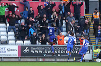 Ipswich Town fans celebrate after Ipswich Town's Trevoh Chalobah celebrates scoring his sides winning goal <br /> <br /> Photographer Ian Cook - CameraSport<br /> <br /> The EFL Sky Bet Championship - Swansea City v Ipswich Town - Saturday 6th October 2018 - Liberty Stadium - Swansea<br /> <br /> World Copyright &copy; 2018 CameraSport. All rights reserved. 43 Linden Ave. Countesthorpe. Leicester. England. LE8 5PG - Tel: +44 (0) 116 277 4147 - admin@camerasport.com - www.camerasport.com