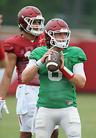 NWA Democrat-Gazette/ANDY SHUPE<br /> Arkansas quarterback Austin Allen prepares to pass as tight end Jeremy Patton looks on Tuesday, Aug. 1, 2017, during practice at the university's practice field in Fayetteville. Visit nwadg.com/photos to see more photographs from the day's practice.