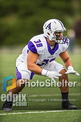 8 October 2016: Amherst College Purple & White Offensive Linebacker Andrew Yamin, a Sophomore from Cheshire, CT, is set on the line during action against the Middlebury College Panthers at Alumni Stadium in Middlebury, Vermont. The Panthers edged out the Purple & While 27-26. Mandatory Credit: Ed Wolfstein Photo *** RAW (NEF) Image File Available ***