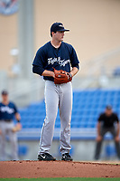 Lakeland Flying Tigers starting pitcher Casey Mize (32) gets ready to deliver a pitch during a game against the Dunedin Blue Jays on July 31, 2018 at Dunedin Stadium in Dunedin, Florida.  Dunedin defeated Lakeland 8-0.  (Mike Janes/Four Seam Images)