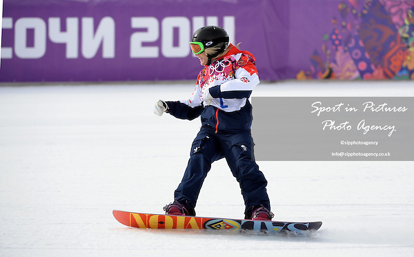 Jenny Jones (GBR) looks pleased as she  qualifies for the final. Womens Snowboard Slopestyle - semi final - PHOTO: Mandatory by-line: Garry Bowden/SIPPA/Pinnacle - Photo Agency UK Tel: +44(0)1363 881025 - Mobile:0797 1270 681 - VAT Reg No: 768 6958 48 - 090214 - 2014 SOCHI WINTER OLYMPICS - Rosa Khutor Extreme Park, Sochii, Russia