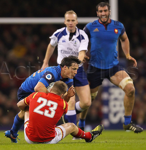 26.02.2016. Principality Stadium, Cardiff, Wales. RBS Six Nations Championships. Wales versus France. France's Francois Trinh-Duc gets tackled by Wales Gareth Anscombe