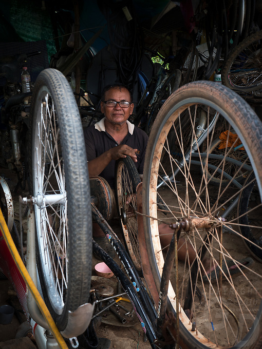 Only bicycle repair Workshop, outskirts of Phnom Penh, Cambodia