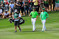 Justin Thomas (USA) and Rickie Fowler (USA) on the 9th fairway during the 3rd round of the Waste Management Phoenix Open, TPC Scottsdale, Scottsdale, Arisona, USA. 02/02/2019.<br /> Picture Fran Caffrey / Golffile.ie<br /> <br /> All photo usage must carry mandatory copyright credit (© Golffile | Fran Caffrey)