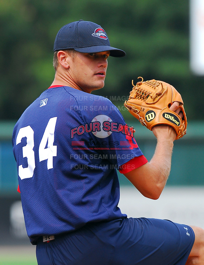 23 July 2007:  Dustin Richardson of the Greenville Drive before a game to honor the Spartanburg Peaches and the city's baseball history. The Drive played the Savannah Sand Gnats.