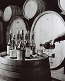 FRANCE, Montigny-les-Arsures, Arbois, Jacques Puffeney pours wine in his barrel room, Jacques Puffeney Winery, Jura Wine Region, Vin Jaune (B&W)