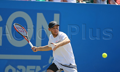 June 18th 2017, Nottingham, England; ATP Aegon Nottingham Open Tennis Tournament day 7 finals day;  Dudi Sela of Israel levels the match at one set all in the men's final against Thomas Fabbiano of Italy