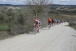 The peloton including Tim Wellens (BEL) Lotto-Soudal, Julian Alaphilippe (FRA) Deceuninck-Quick Step and Greg Van Avermaet (BEL) CCC Team give chase on sector 8 Monte Santa Maria during Strade Bianche 2019 running 184km from Siena to Siena, held over the white gravel roads of Tuscany, Italy. 9th March 2019.<br /> Picture: Eoin Clarke | Cyclefile<br /> <br /> <br /> All photos usage must carry mandatory copyright credit (&copy; Cyclefile | Eoin Clarke)