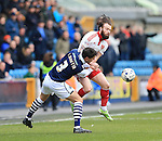 Sheffield United's John Brayford tussles with Millwall's Joe Martin during the League One match at The Den.  Photo credit should read: David Klein/Sportimage