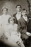 1901 Wedding photo. Seated: Amelia &amp; Augustine Michael Litzinger (1872). Behind: Maria Oswald (sister of Amelia); and Charles Paul Litzinger (1876) (son of William Elliott &amp; Susan Litzinger)   - 1901<br /> <br /> Conrad&gt;Leonard&gt;Simon&gt;Bernard&gt;Peter&gt;Augustine Michael<br /> <br /> Conrad&gt;Leonard&gt;Simon&gt;Bernard&gt;Peter&gt;William Elliot&gt;Charles Paul