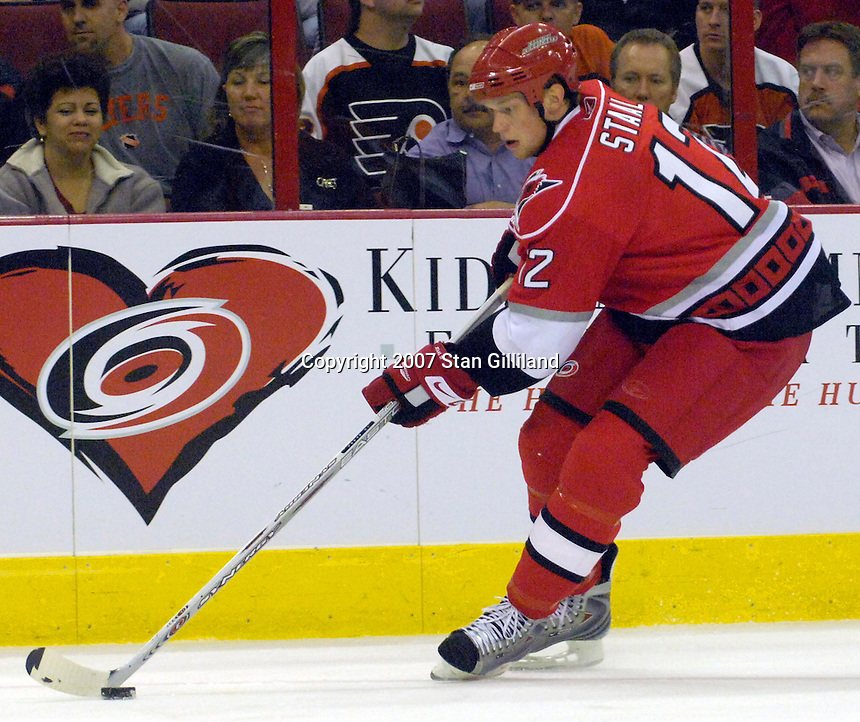 The Carolina Hurricanes' Eric Staal controls a puck during their game with the Philadelphia Flyers Wednesday, Nov. 21, 2007 in Raleigh, NC. The Flyers won 6-3.