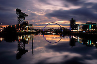 The Finnieston Crane and the Clyde Arc (Squinty Bridge) crossing the River Clyde at Pacific Quay, Glasgow<br /> <br /> Copyright www.scottishhorizons.co.uk/Keith Fergus 2011 All Rights Reserved
