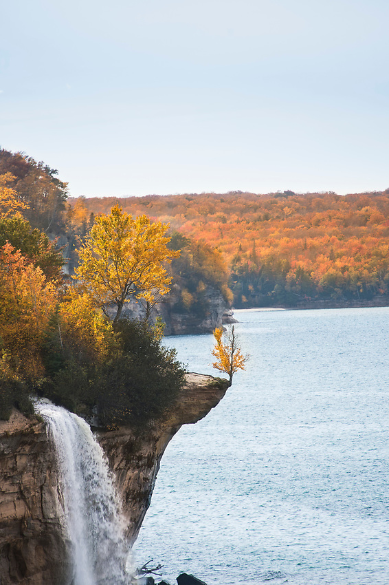 Fall color at Spray Falls in Pictured Rocks National Lakeshore on Michigan's Upper Peninsula.