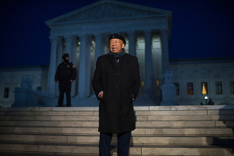 UNITED STATES - JANUARY 30: Rep. Elijah Cummings, D-Md., arrives with others members of the House and Senate in front of the Supreme Court to voice opposition to President Trump's executive order barring immigrants from certain countries, entry into the U.S., January 30, 2017. (Photo By Tom Williams/CQ Roll Call)