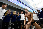 GREENSBORO, NC - MARCH 17: The California Baptist University swim team does a team cheer prior to the start of the Division II Men's and Women's Swimming & Diving Championship held at the Greensboro Aquatic Center on March 17, 2018 in Greensboro, North Carolina. (Photo by Mike Comer/NCAA Photos/NCAA Photos via Getty Images)