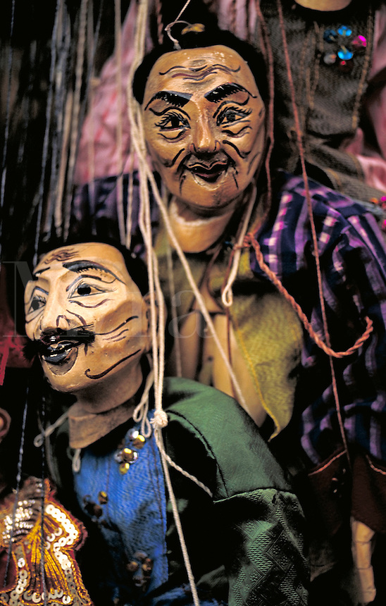 Marionettes for sale at the night market. Chiang Mai, Thailand. Chiang Mai, Thailand.