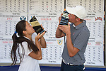 April 15, 2015; Ventura, CA, USA; Pepperdine Waves women's individual title champion Marissa Chow (left) and men's individual title champion Cody McManus (right) during the WCC Golf Championships at Saticoy Country Club.