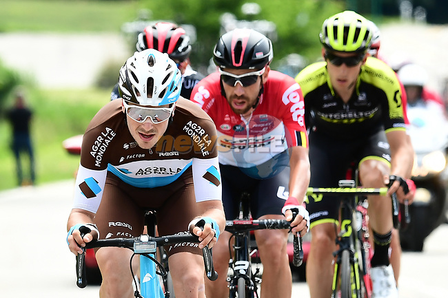 The breakaway group with Alexis Gougeard (FRA) AG2R La Mondiale on the front during Stage 5 of the 2018 Criterium du Dauphine 2018 running 130km from Grenoble to Valmorel, France. 8th June 2018.<br /> Picture: ASO/Alex Broadway | Cyclefile<br /> <br /> <br /> All photos usage must carry mandatory copyright credit (© Cyclefile | ASO/Alex Broadway)