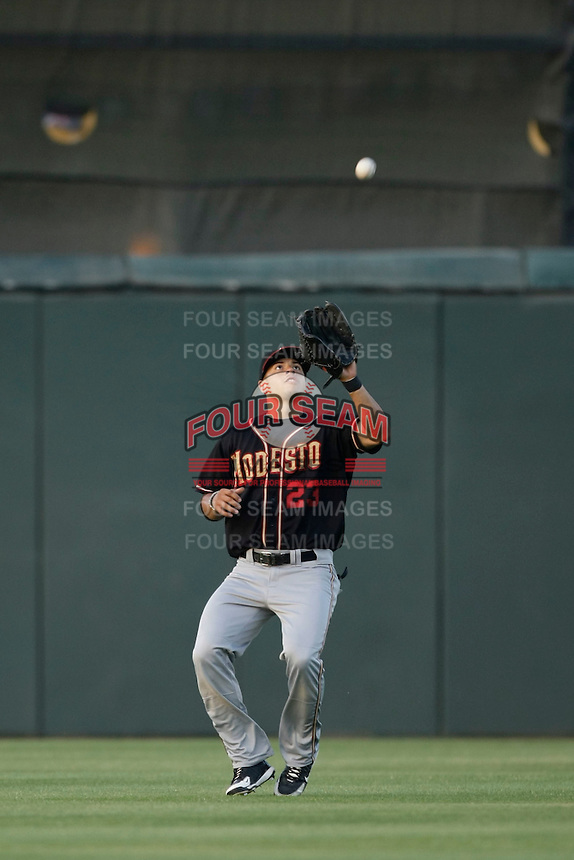 May 28 2009: Michael Mitchell of the Modesto Nuts during game against the Inland Empire 66'ers at Arrowhead Credit Union Park in San Bernardino,CA.  Photo by Larry Goren/Four Seam Images