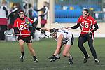 Santa Barbara, CA 02/19/11 - Tracy Souvall (Utah #22), Kathryn Tillou (Utah #15) and Alex Treadwell (Nevada-Reno #10) in action during the Utah-Nevada Reno game at the 2011 Santa Barbara Shootout.