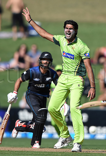 03.02.2015. Napier, New Zealand.  Mohammad Irfan appeals. ANZ One Day International Cricket Series. Match 2 between New Zealand Black Caps and Pakistan at McLean Park in Napier, New Zealand.