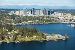 aerial photo of Lake Washington and the Bellevue skyline