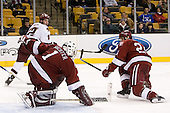 Ben Smith (Boston College - Avon, CT), Kyle Richter (Harvard University - Calgary, AB)JD McCabe (Harvard University - Jamison, PA) - The Boston College Eagles defeated the Harvard University Crimson 3-1 in the first round of the 2007 Beanpot Tournament on Monday, February 5, 2007, at the TD Banknorth Garden in Boston, Massachusetts.  The first Beanpot Tournament was played in December 1952 with the scheduling moved to the first two Mondays of February in its sixth year.  The tournament is played between Boston College, Boston University, Harvard University and Northeastern University with the first round matchups alternating each year.