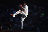 SAN FRANCISCO, CA - AUGUST 11:  Trevor Gott #58 of the San Francisco Giants pitches against the Philadelphia Phillies during the game at Oracle Park on Sunday, August 11, 2019 in San Francisco, California. (Photo by Brad Mangin)