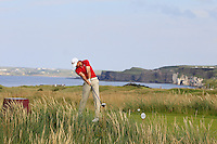 Michael Hearne (WAL) on the 15th tee during the Afternoon Singles between Ireland and Wales at the Home Internationals at Royal Portrush Golf Club on Thursday 13th August 2015.<br /> Picture:  Thos Caffrey / www.golffile.ie