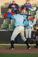 Jose Almonte (16) of the Hickory Crawdads at bat against the Kannapolis Intimidators at Kannapolis Intimidators Stadium on April 10, 2016 in Kannapolis, North Carolina.  The Intimidators defeated the Crawdads 10-3.  (Brian Westerholt/Four Seam Images)