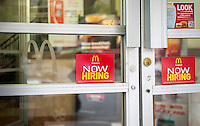 A sign in the window of a McDonald's in New York advises potential job applicants of the opportunities available in the fast food industry, seen on Sunday, October 2, 2016.  (© Richard B. Levine)