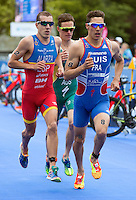 31 MAY 2015 - LONDON, GBR - Vincent Luis (FRA) (right) from France leads Fernando Alarza (ESP) (left) from Spain and Ryan Bailie (AUS) (centre) from Australia during the run at the at the elite men's 2015 ITU World Triathlon Series round in Hyde Park, London, Great Britain (PHOTO COPYRIGHT © 2015 NIGEL FARROW, ALL RIGHTS RESERVED)
