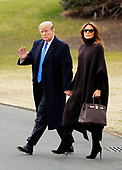 United States President Donald J. Trump and Melania Trump depart the South Lawn of the White House for a weekend away at their Mar-a-Lago resort in Palm Beach, Florida,  February 15, 2019.<br /> Credit: Martin H. Simon / CNP