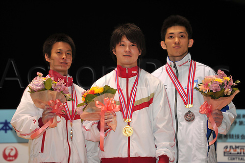 24.04.2011. Tokyo, Jpan.  (L to R) Kenya Kobayashi (JPN), Kohei Uchimura (JPN), Kazuhito Tanaka (JPN), APRIL 24th, 2011 - Artistic gymnastics : The 65th All Japan Gymnastics Championship Individual All-Around , Men's Individual 2nd day at 1nd Yoyogi Gymnasium, Tokyo, Japan.