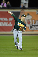 Siena Saints outfielder Alex Tuccio (20) throws the ball in during the opening game of the season against the UCF Knights on February 13, 2015 at Jay Bergman Field in Orlando, Florida.  UCF defeated Siena 4-1.  (Mike Janes/Four Seam Images)